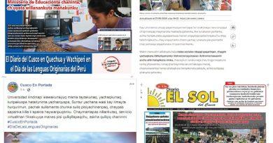 """MEDIOS DE COMUNICACIÓN REVALORAN EL QUECHUA, YINE Y WACHIPERI EN EL """"DÍA DE LAS LENGUAS ORIGINARIAS DEL PERÚ"""""""
