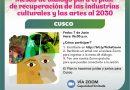 MESA DE DIÁLOGO PARA LA RECUPERACIÓN DE LAS INDUSTRIAS CULTURALES Y ARTES SE REALIZARÁ EL 7 DE JUNIO